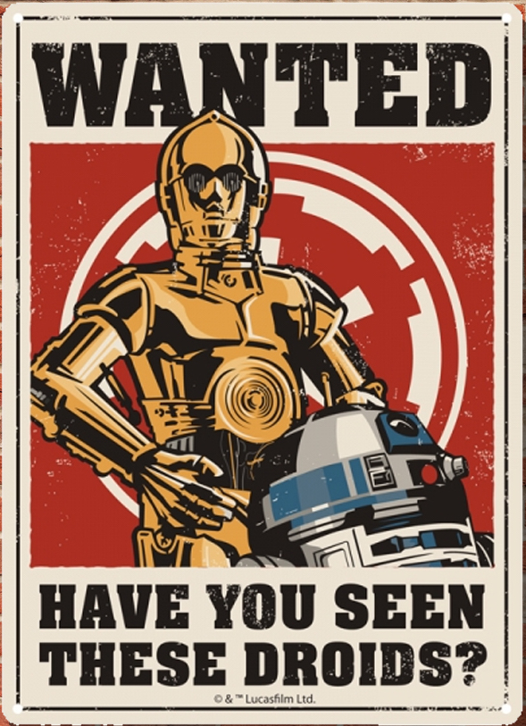 Star Wars - Insegna in metallo - Droids Tin sign (21x15 cm)