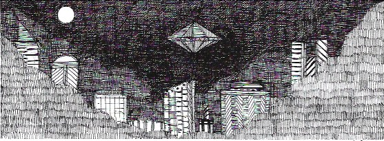 Jon Carling - sticker adesivo 8x19cm - Future city