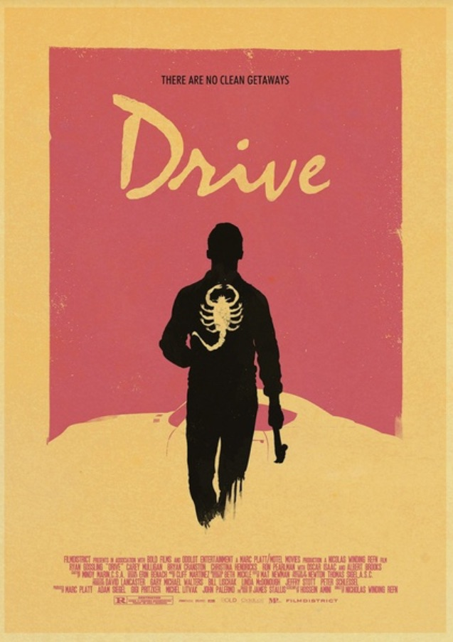 Drive - retro poster su cartoncino kraft - There are no clean getaways